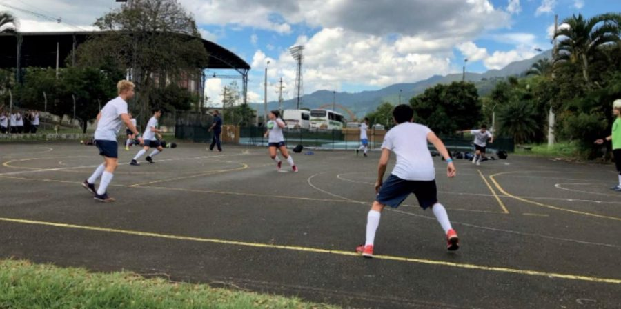 Spencer Shroyer, '20, is pictured practicing in Columbia with members of the U.S. National Futsal team. Shroyer didn't have any oppurtunity to practice with his teams prior to arriving in Medellin.