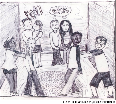 The drawing above depicts stereotypical situations of boy-girl parties. It is important when going to these parties that you feel comfortable in every situation and don't feel pressured to do anything you are not okay with, even if people tease you for it; that is their problem, not yours.