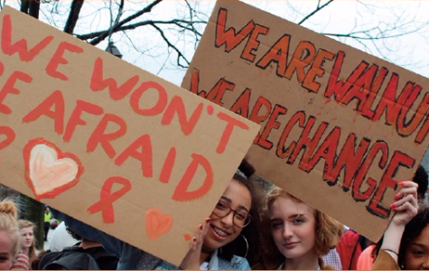"""Liza Allen, '19, and Ruby Krimmer, '19, raise signs during the walkout Feb. 21. Krimmer's sign reads, """"We are Walnut. We are Change,"""" representing the change students are pushing in the U.S."""
