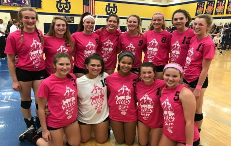 Volleyball team members play to raise money to research cures for cancer.