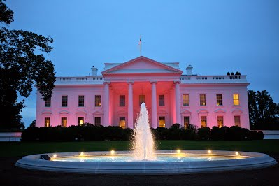The White House is illuminated pink for Breast Cancer Awareness in October of 2012 during the Obama administration. The activities and legislature that comes out of  the White House are often the fore front of online news media sources.