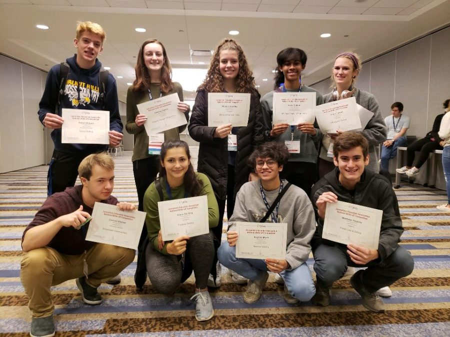 Nine of The Chatterbox's staff members won write-off awards at the 2018 National High School Journalism Convention in Chicago. The students were tasked with writing articles on the spot, or submitting photography or design portfolios for review.