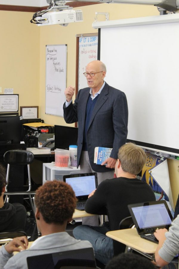 Jerrold Fine, '60, visited WHHS on his book tour for his first novel Make Me Even and I'll Never Gamble Again. Fine founded a hedge fund and worked on Wall Street, but retired to writing as of 2014.