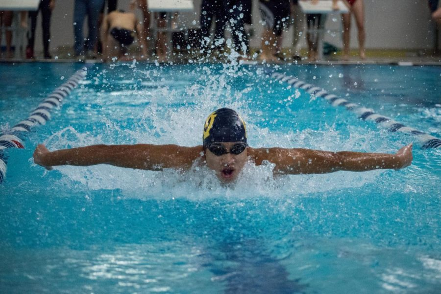 Rowan Chatterjee, '20, torpedoes through the water at a swim meet against Loveland High School on Dec. 11.  He swam the butterfly stroke as part of WHHS's 200 yard medley relay, along with Clovis Dufourg, '21, Alex Krietemeyer, '20 and Xavier Reblando, '22. The medley team finished in second place in this race with a time of 1:45.97.