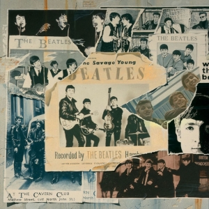 Album cover of Anthology 1, the first of three compilation albums released alonside The Beatles Anthology documentary and book in 1995. The albums contained the 'best of' The Beatles, and the documentary and book portrayed the history of the band.