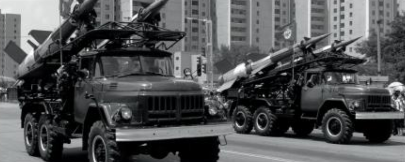 Two trucks carrying North Korean nuclear missiles. Following a summer of nuclear tests, tensions between North Korea and the United States are high.