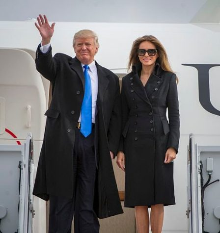 President Donald Trump arrives in Washington, DC with his wife Melania the day before his inauguration.