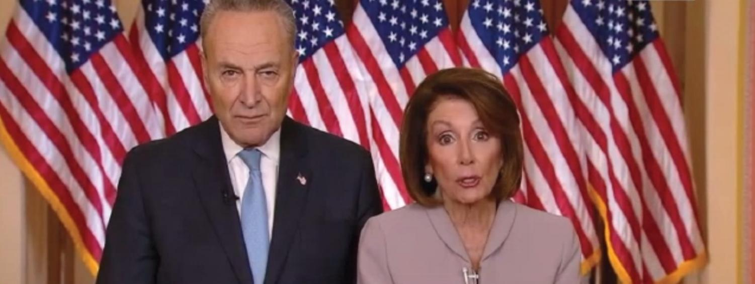 "Nancy Pelosi and Chuck Schumer address the nation, following Donald Trump's address. Schumer claimed that ""the symbol of America should be the Statue of Liberty, not a 30-foot wall."""