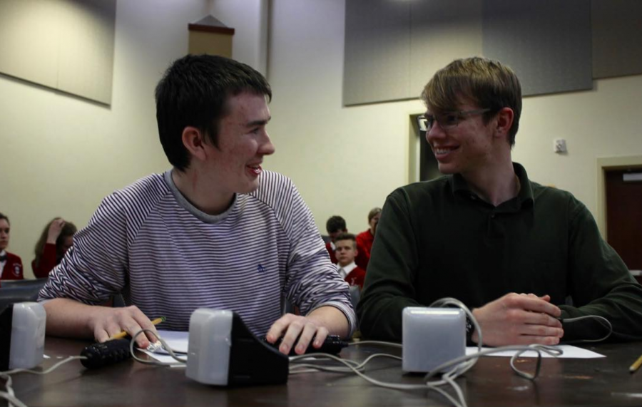 Our smiley photo of the day shot by sophomore Abby Jay features SENIOR & co-captain of Walnut's Academic Quiz Team Nolan Brown (right) and junior Noah Bigger (left). Following today's win, the team will head to regionals next, and have already qualified for nationals! Nationals will take place over Memorial Day weekend.