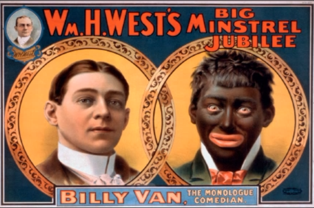"""This poster from the year 1900 shows a comedian transforming himself from white to """"black."""" The history of blackface is long in the United States and has become a common topic of discussion in light of recent political scandals."""