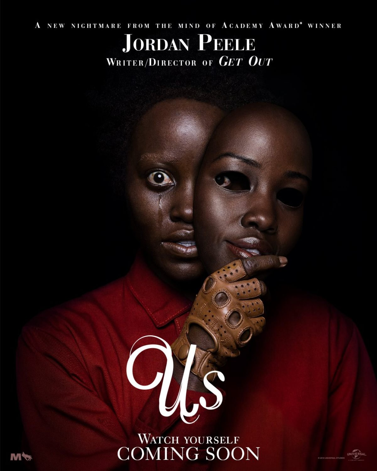 Movie poster for Us, staring Lupita Nyong'o and Winston Duke. Released March 22, 2019.