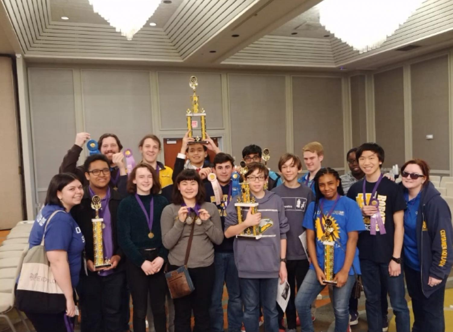 The WHHS Junior Classical League members who attended the convention pose with their awards on the final day of the convention. This convention is the only state-wide event that the WHHS JCL attends during the school year.