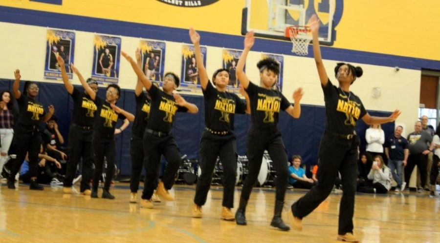 The WHHS step team performed at both the junior high and high school winter pep rallies this year. Over twenty students from all grades participate in step, which partners with Black Culture Club.