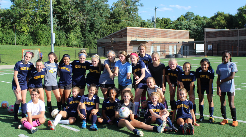 """Seventh and eighth grader soccer players appreciate the importance of teamwork in their sport. """"If one player gets the ball and shoots, but misses, it is not his fault but it is the teams fault for not helping him out,"""" Codi Donaldson, '24, said."""