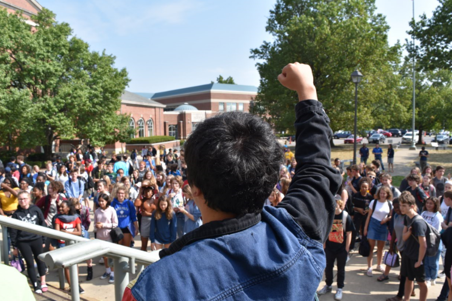 """No more coal! No more oil! Keep your carbon in the soil!"" WHHS students joined the national walkout to bring awareness to climate change on Friday, Sept. 20."