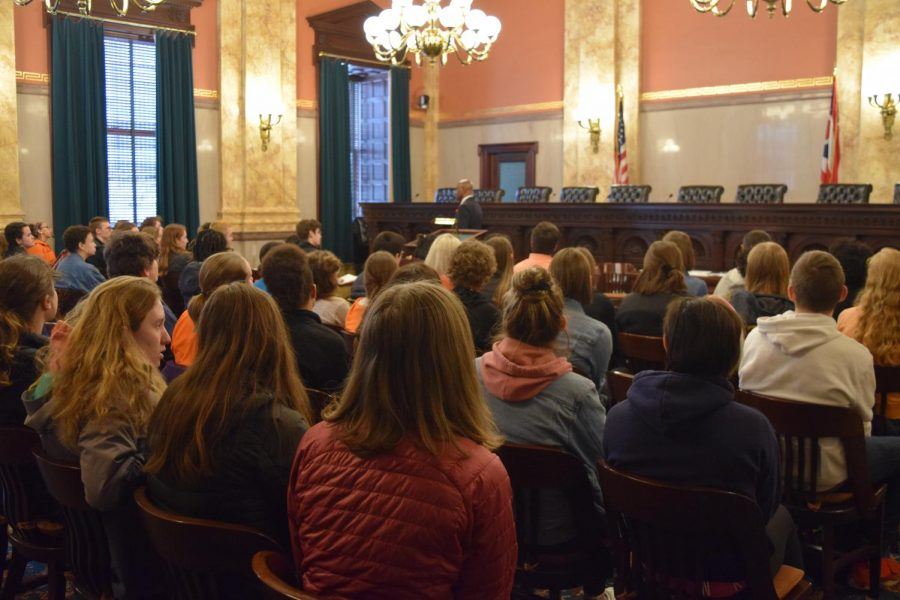 In March of 2018, WHHS students sit in the Ohio Statehouse, where the Ohio legislature meets, lobbying the state government to take action on gun control. Like these students, Nadya Ellerhorst, '20, has been working for change, but on a different issue; in the past year, she has written to and petitioned for the Ohio Senate to reform their