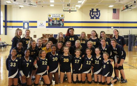 The WHHS seventh and eighth grade girls' volleyball teams prepare to receive yet another win against one of their many competitors. On Oct. 12 the seventh grade girls team played in the ECC tournament at WHHS.