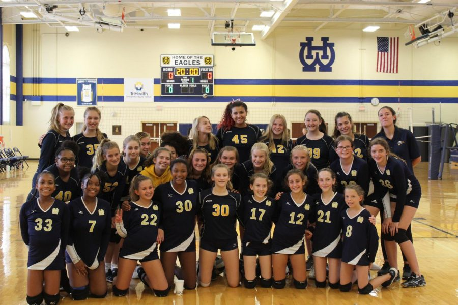 The+WHHS+seventh+and+eighth+grade+girls%E2%80%99+volleyball+teams+prepare+to+receive+yet+another+win+against+one+of+their+many+competitors.+On+Oct.+12+the+seventh+grade+girls+team+played+in+the+ECC+tournament+at+WHHS.