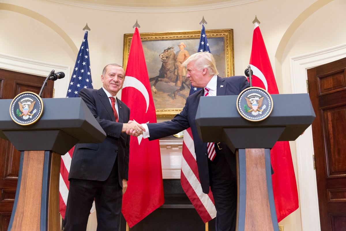 In May of 2017, the President of Turkey, Recep Tayyip Ergodan, meets with the President of the United States, Donald Trump, at the White House. In October of 2019, Trump had a phone call with the President of Turkey, whose army is to begin an offensive into Northern Syria. After the call, Trump announced that the U.S. will be removing troops from Northern Syria.