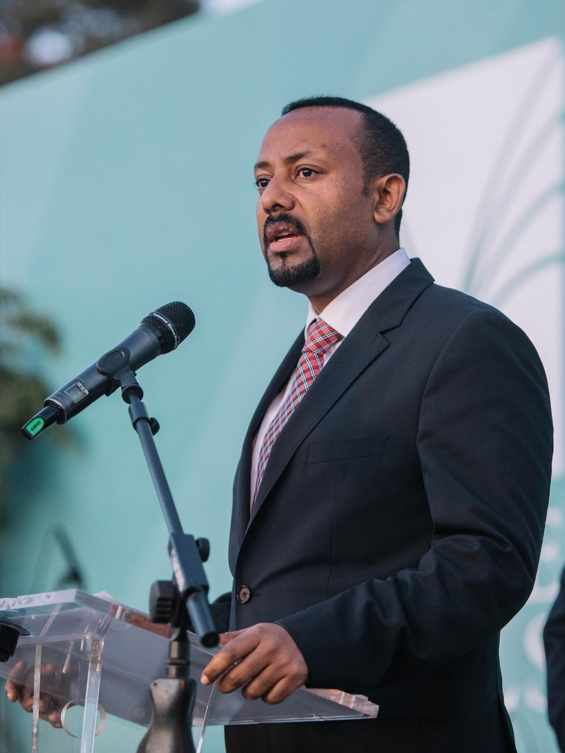 Prime Minister Abiy Ahmed speaks at an inauguration event in Addis Ababa. Ahmed was honored for his role in maintaining peace in Ethiopia.