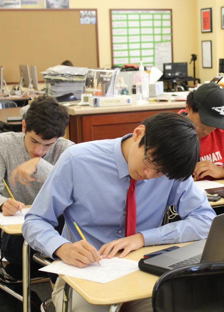 SENIOR Alan Zhang bubbles in his personal information, a process that may be phased out completely with this new ACT format. Zhang was one of the 17 WHHS students who got a perfect score on the ACT last school year.