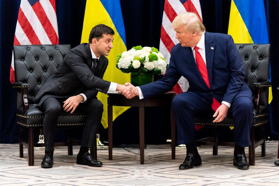 President+Donald+Trump+and+Volodymyr+Zelensky%2C+president+of+Ukraine%2C+shake+hands+after+meeting+in+2019.+Both+President+Trump+and+President+Zelensky+participated+in+the+phone+call+that+lead+to+an+impeachment+inquiry.+