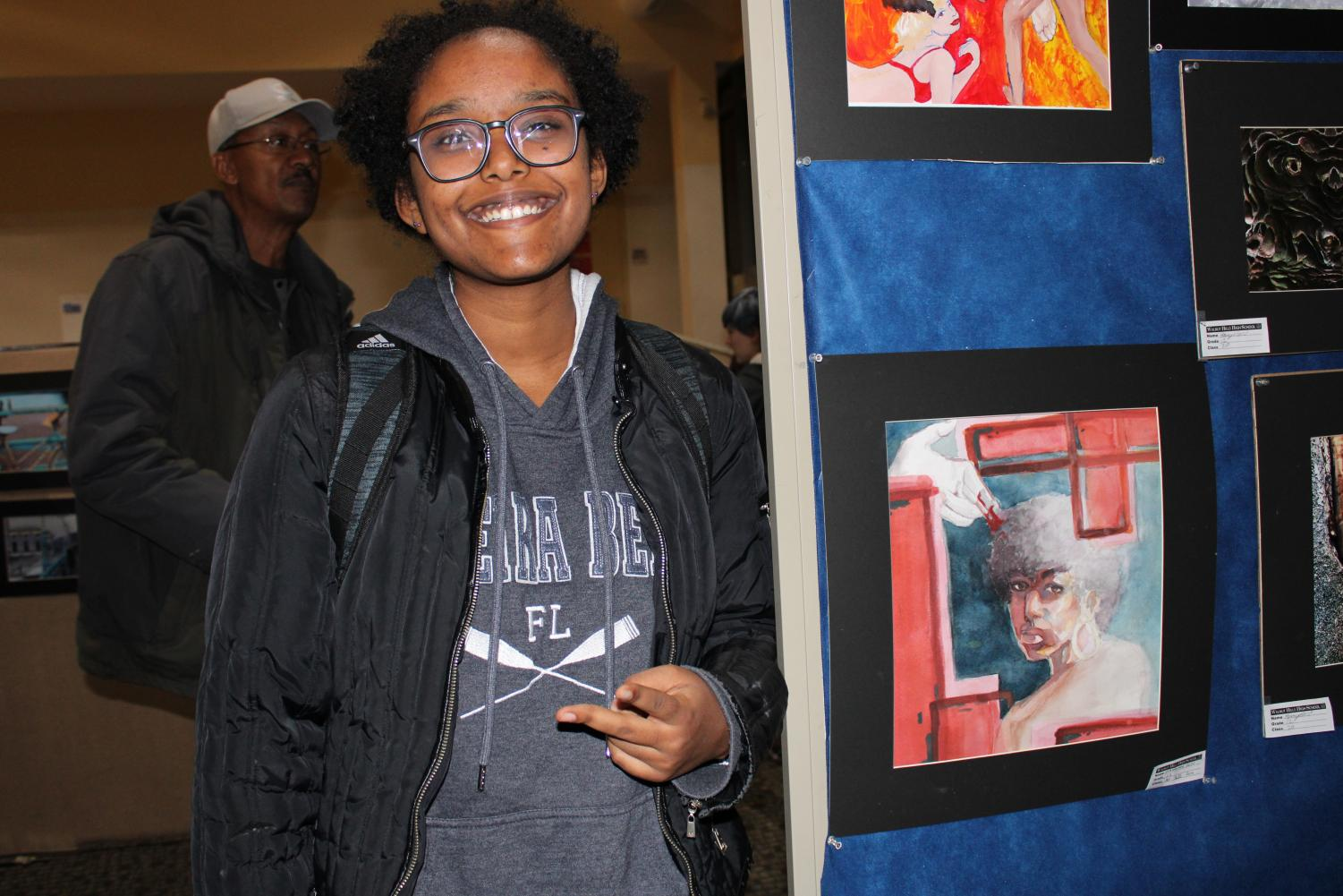 """As a student in AP 2-D Art and Design, SENIOR Nawame Kitil's personal concentration is """"the institutional suppression of people of color, specifically black people."""" Kitil uses her artwork as powerful social commentary, as in the above watercolor piece, where she seeks to draw attention to """"the fact that a lot of trans women are being killed… specifically trans women who are black… or of color."""""""