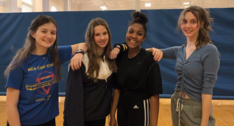 (Left to right) Corinne Adams, '24, Carolina Tollefson, '24, Lael Ingram '24, and Kate Sampson, '24, wind down from another practice full of hard work.