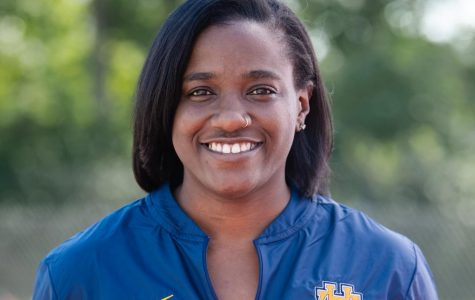 """Shea Steele, '10, coaches WHHS' indoor track and field team. Once a part of the WHHS track team herself, Steele enjoys """"being able to watch track meets and see kids succeed in a sport that I have been passionate about for the majority of my life."""