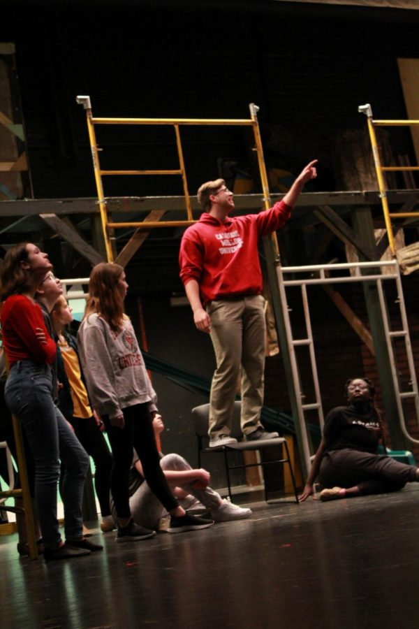 SENIOR Oliver Vockell as Bobby Strong, the musical's protagonist, leads his fellow cast members in taking a stand against corporatism in their town.