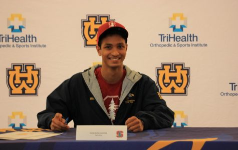 """SENIOR Aaron Sequeria committed to swim for Stanford University's class of 2024.  He plans to swim for all of his college years and even continue farther. """"I hope to get as far as I can, maybe even stand on the Olympic podium someday,"""" Sequeria said."""