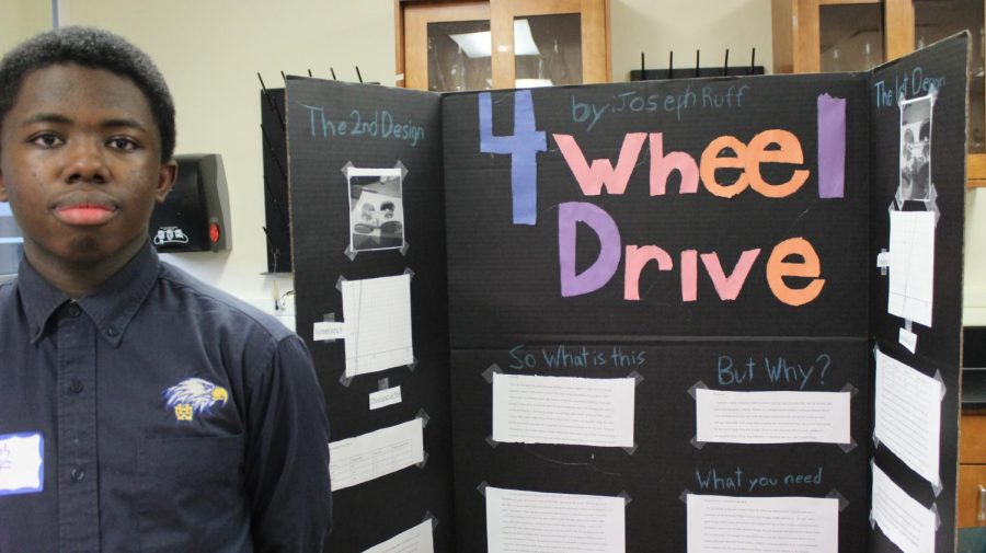 Science fair participant, Joseph Ruff, '24, studied four-wheel drive. The WHHS Science Fair took place Thursday, Feb. 6, 2020.