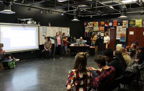 The WHHS International Thespian Society discusses future leadership at their Feb. 27 meeting.