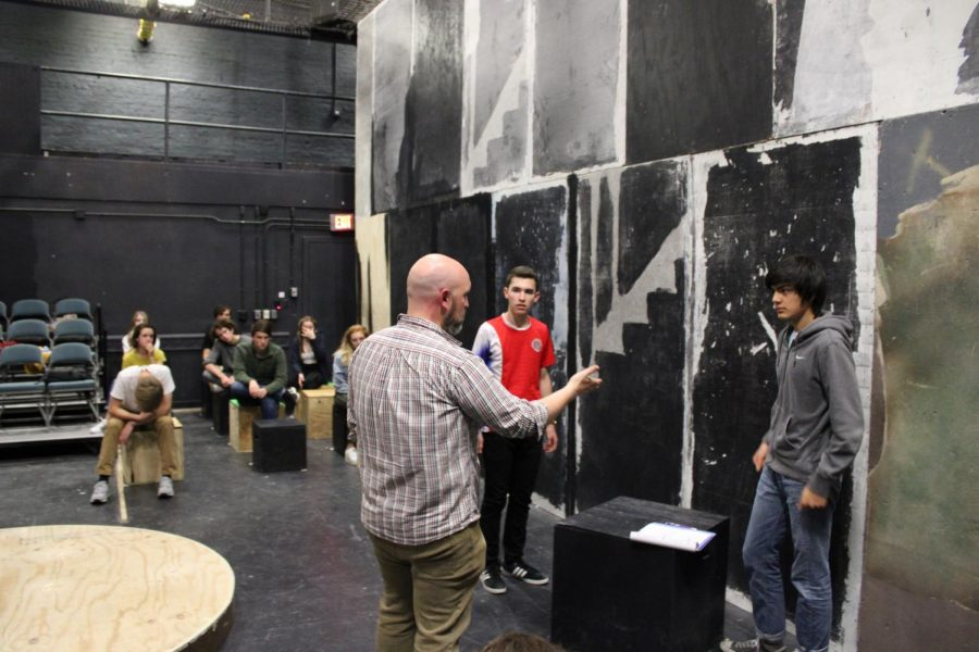 "Theatre department chair, Michael Sherman, advises students during a rehearsal for the fall production of 'The Curious Incident of the Dog in the Night-Time.' This spring, Sherman had to cancel the junior high musical, 'Hairspray Jr.,' due to COVID-19. ""It's the first time I've ever had to do it in my 12 years teaching theater, but, you know, these are extraordinary circumstances,"" Sherman said."