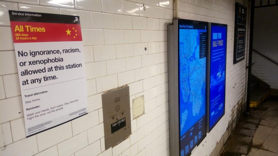 As COVID-19 continues to impact the United States, xenophobia is becoming more common. A poster in a New York City subway station seeks to combat this xenophobia by raising awareness of the problem.