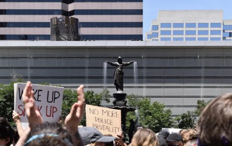 Protesters march in downtown Cincinnati on June 7 for the 10th consecutive day of demonstrations. More than 4,000 people were in attendance.