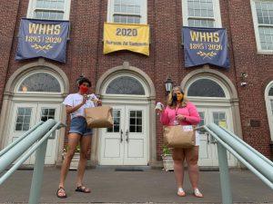 SENIOR Tamar Sella delivers 200 hand-sewn masks to Assistant Principal Jessica Smitson. (Courtesy of Tamar Sella)