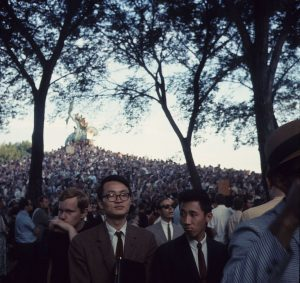 Hundreds of protestors gathered in Grant Park to protest the Vietnam War during the 1968 Democratic Nominating Convention in Chicago, Ill.