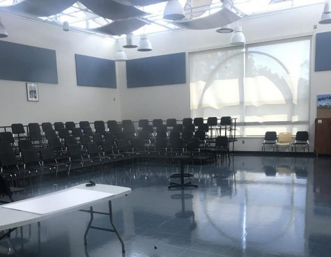 The choir room where students would normally practice is currently empty. Due to the pandemic, the room may not be in use this year.