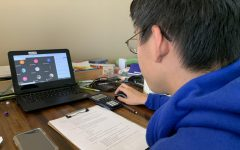 Red Cross  Club President Justin Chan, '22, leads a virtual club meeting