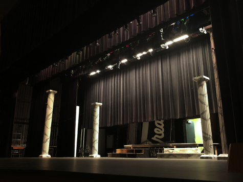 The auditorium is being used to rehearse Hamlet instead of the blackbox theater. Rehearsal plans were made by Michael Sherman and Helen Raymond-Goers.