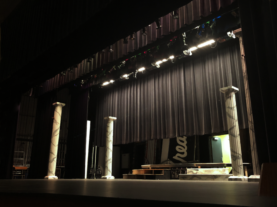 The+auditorium+is+being+used+to+rehearse+Hamlet+instead+of+the+blackbox+theater.+Rehearsal+plans+were+made+by+Michael+Sherman+and+Helen+Raymond-Goers.