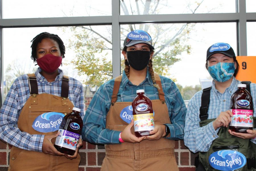 "SENIORS  Sena Segbefia, Alicia Cave and Lily Durzinsky dressed as ""Ocean Spray farmers""."