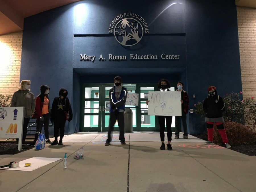 Fighting to remove police from CPS schools, members of Young Activist Coalition protest outside of the Mary A. Ronan Education Center during a school board meeting. They have also spoken with community members and repeatedly informed them of what they can do to continue fighting.