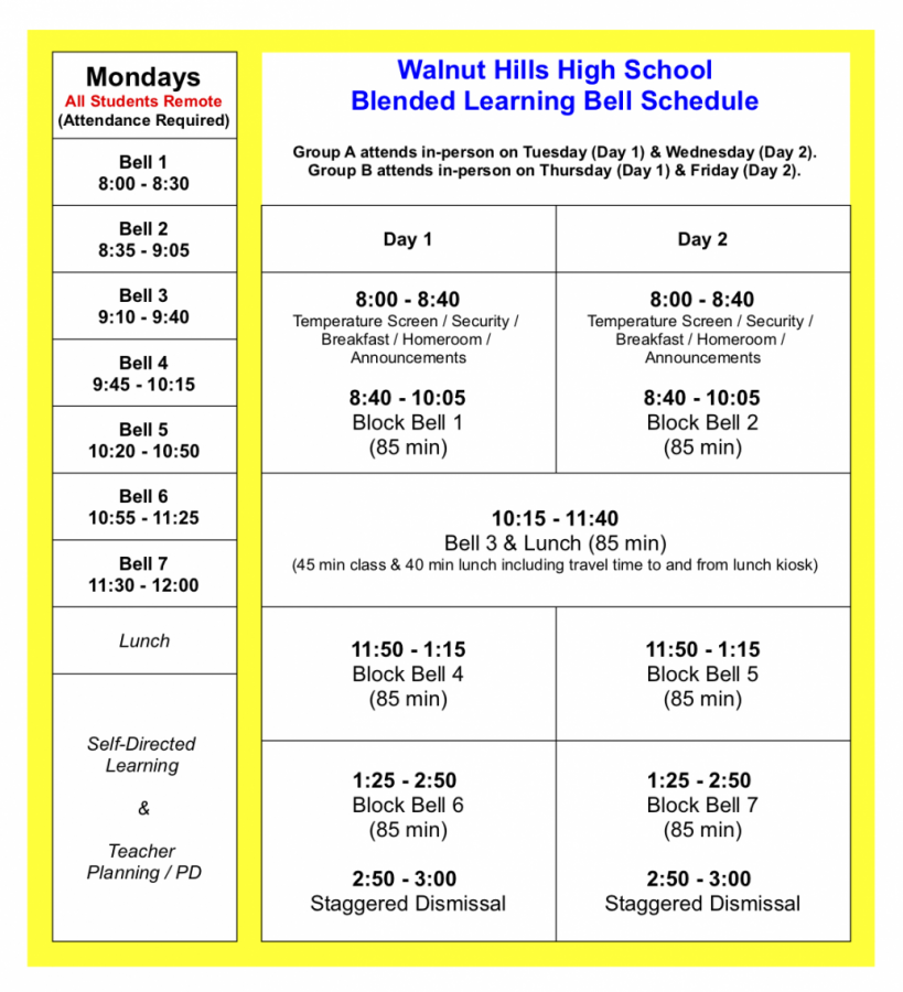 The WHHS blended bell schedule was released in the Eagle Flyer on Feb. 4.