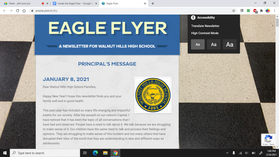 The Eagle Flyer newsletter has become an important source of school news in this unusual school year.