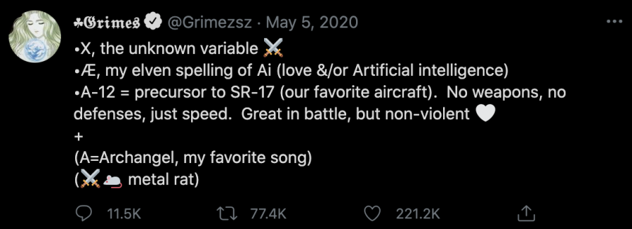Grimes+explained+the+meaning+behind+the+name+of+her+and+Elon+Musk%E2%80%99s+newborn+X+%D3%94+A-12.