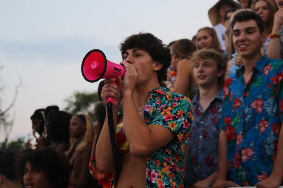 SENIOR Quinn Donnovan leads the Nut House in a chant