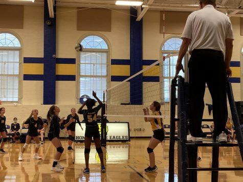 The seventh grade volleyball team wins their third match.
