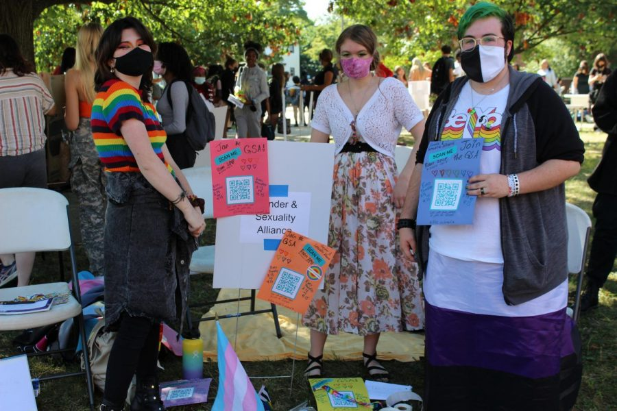 The Gender and Sexuality Alliance show their pride with decorative posters and bright colors at the annual Club Fair.